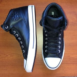 mens black leather high top converse